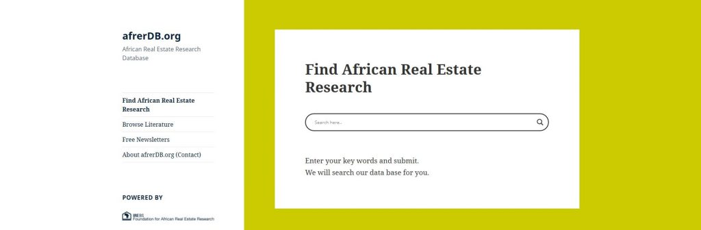 African Real Estate Research Database